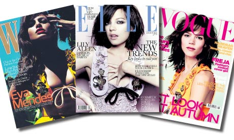 Covers of the August Editions of W, Elle and British Vogue