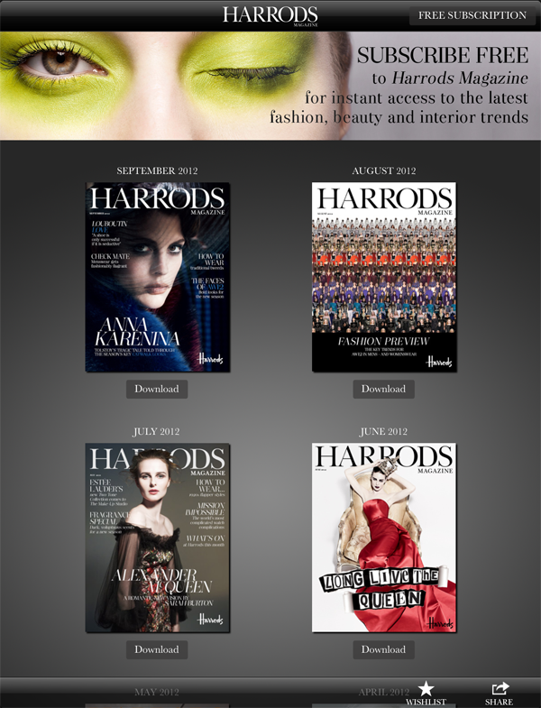 harrods magazine ipad