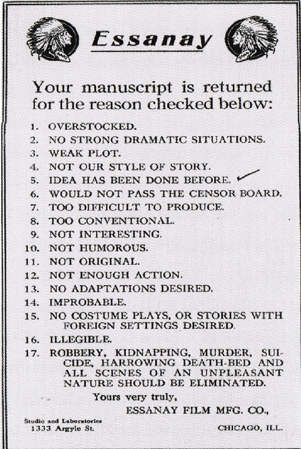 movie rejection letter
