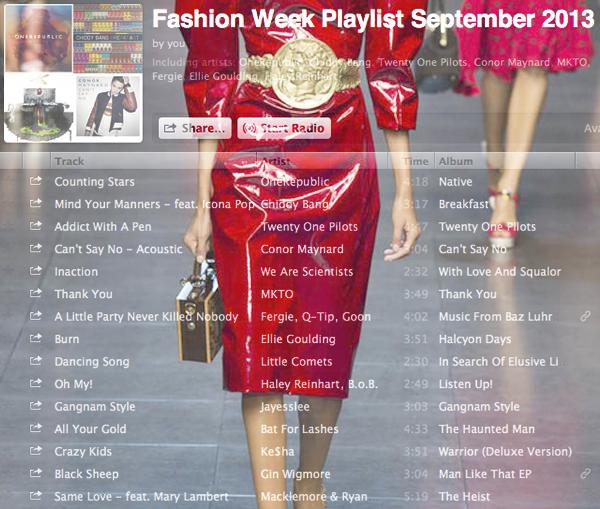 Free Spotify Playlist – Fashion Week 2013