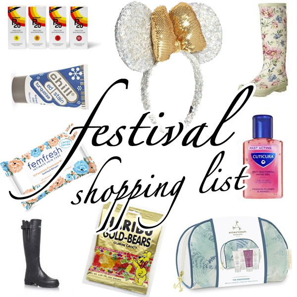 festival shopping list