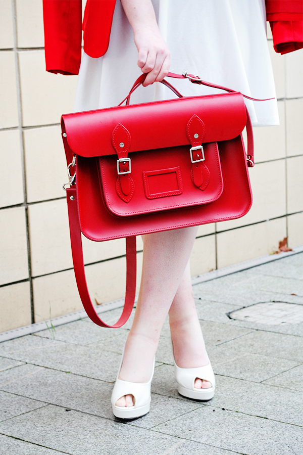 red and white outfit post