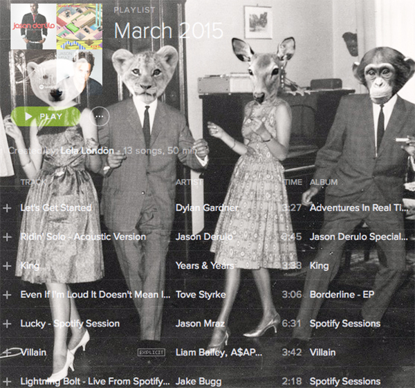 free spotify playlist march 2015